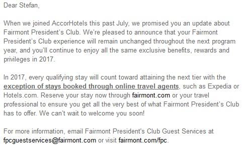 Fairmont Presidents Club Update November 2016