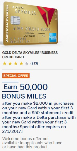 Amex Delta Gold Business 50k