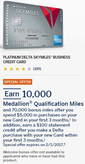 Amex Delta Platinum Business 70k