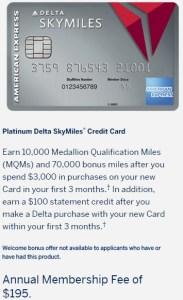 Amex Delta Platinum Personal 70k