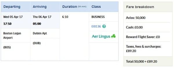 Avios Award Boston to Dublin Fees