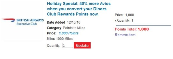 Diners Club Holiday Avios Bonus 2016