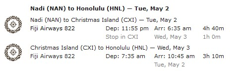 Fiji Airways Nadi-Christmas Island-Honolulu