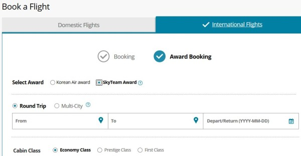 Korean Air SkyPass SkyTeam Award Booking