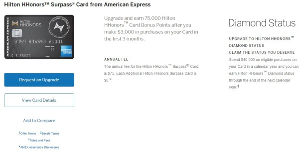 Amex Surpass 75k Upgrade Landing Screen