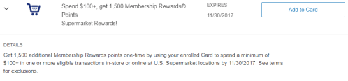 Amex Offers Supermarkets 1500