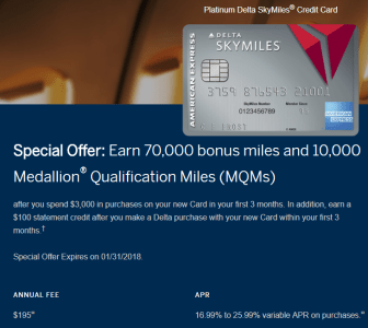 Amex Delta Platinum 70k January 2018