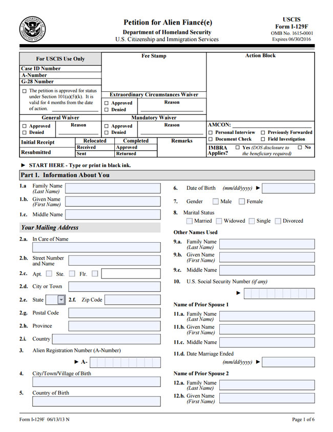 Form: NEW FORM FOR FIANCE VISA