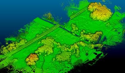 地上の草本植生はレーザーが透過するので、直接地表面の高さを測定可能
