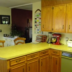 Cleaning Kitchen Wood Cabinets Antique Brass Hardware House Tour: Hello 1960s Kitchen! - Rhapsody In Rooms