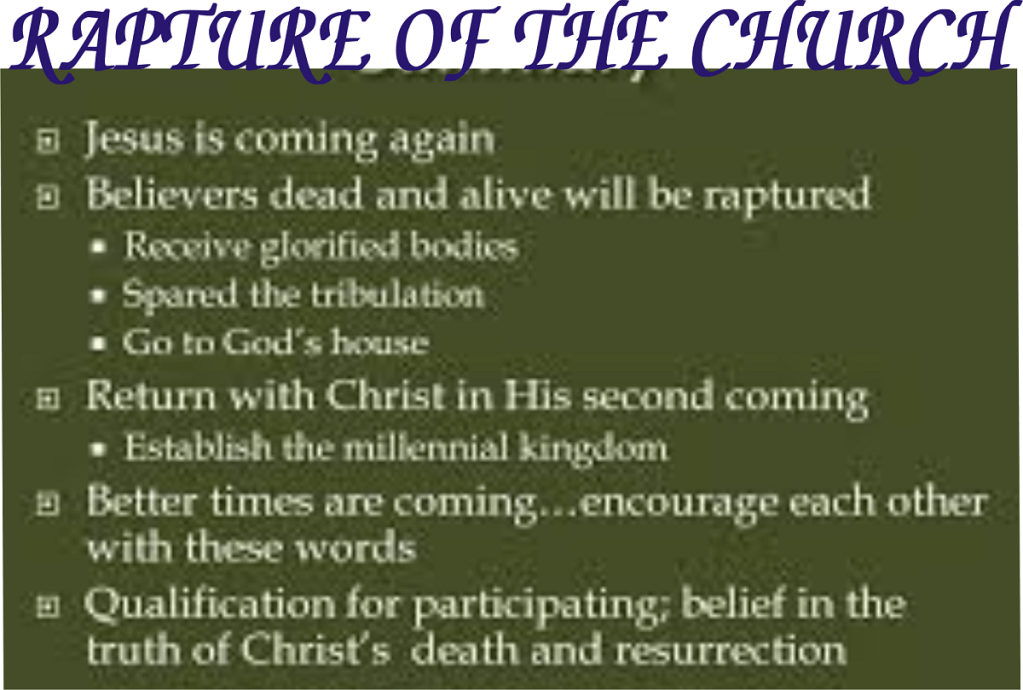 ELIGIBILITY FOR CHURCH RAPTURE