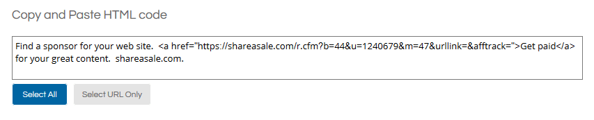 ShareASale Get HTML Code