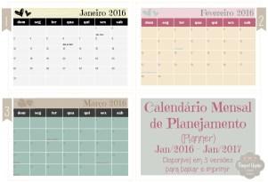 Calendário Mensal de Planejamento - Planner - Raquel Yopán 01