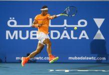 Rafael Nadal em ação em Abu Dhabi