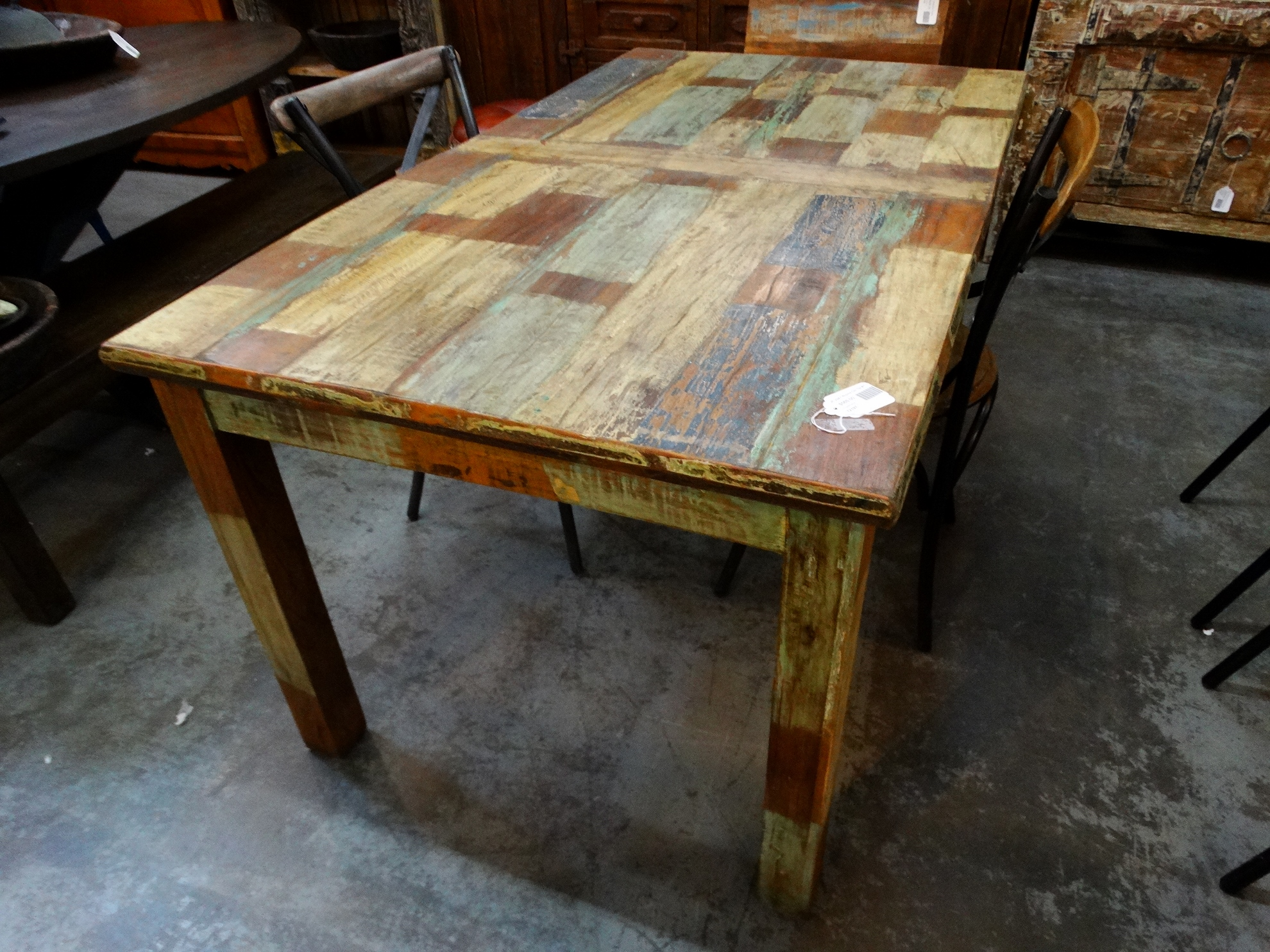 dining table reclaimed colorful