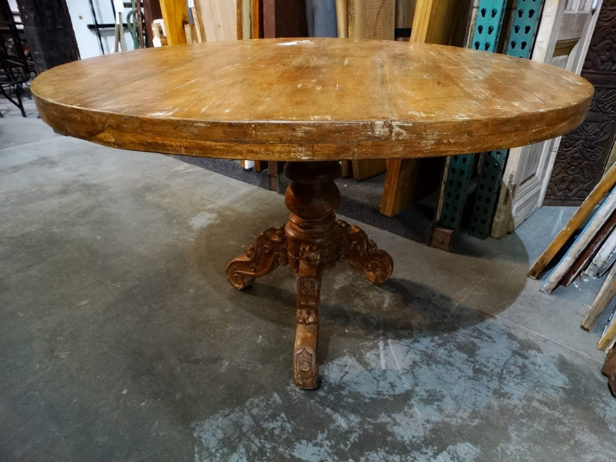 table round wood pedestal dining table