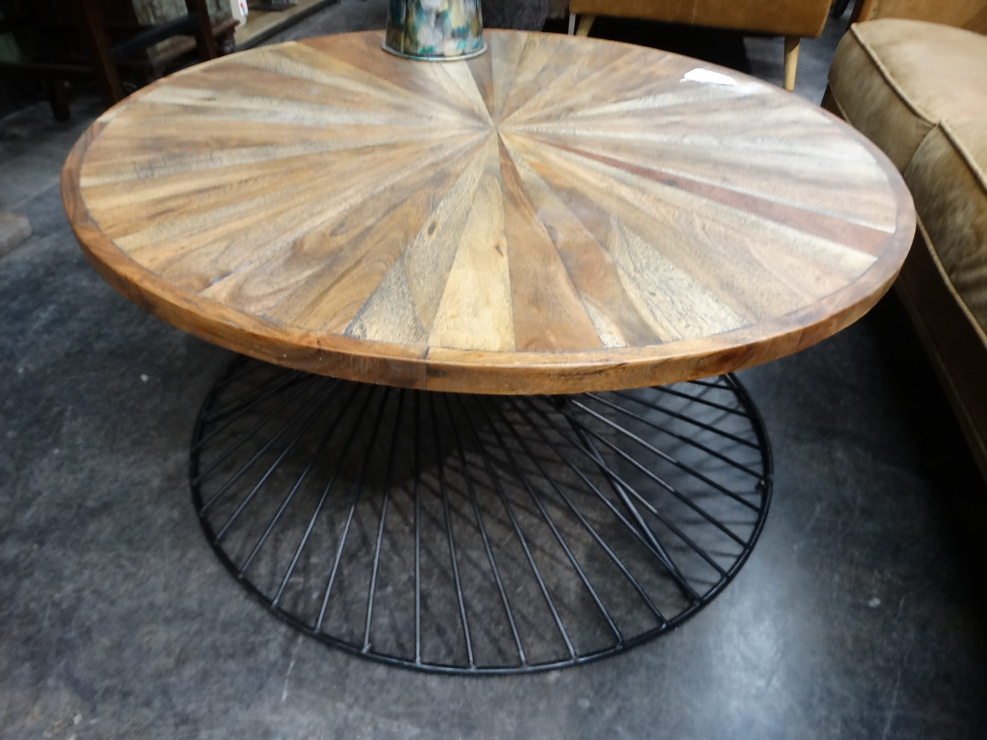 coffee table yuma round spiral wire base coffee table