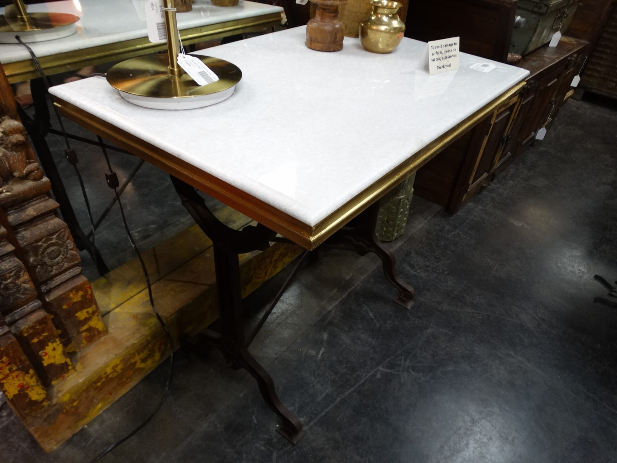 table white marble top iron base table