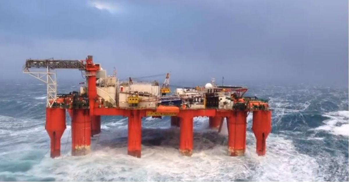 Video shows waves bashing North Sea oil rig | Rare