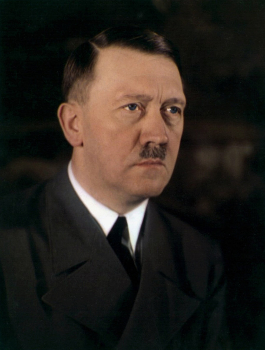 Adolf Hitler's eye color in a rare color photo