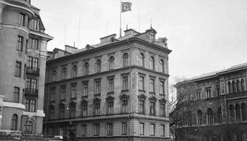 The German Embassy In Sweden Flying Flag At Half Mast Day Hitler Died