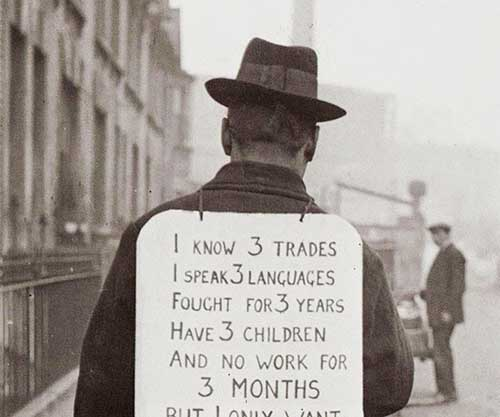 A unknown man during the Great Depression, 1932