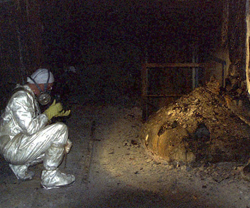 The Elephant's Foot of the Chernobyl disaster, 1986