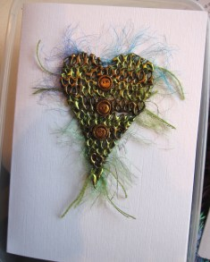 Knitted lacework heart card