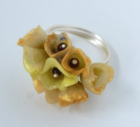 Translucent polymer clay flower ring