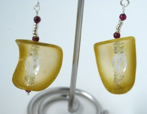 Translucent polymer clay Cucumber Slice earrings
