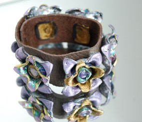 Floral Cuff in Friendly Plastic and leather