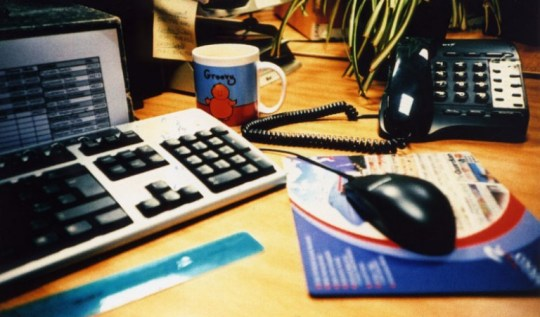 My desk in a previous job, snapped with my Lomo LC-A
