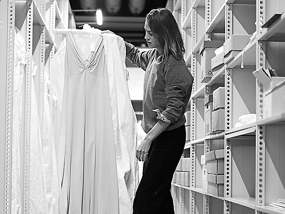 Alexa Chung researching her collection at the M&S Company Archive