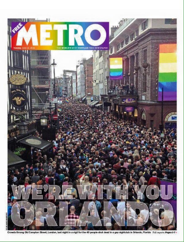 Cover of the UK Metro newspaper, 14th June 2016