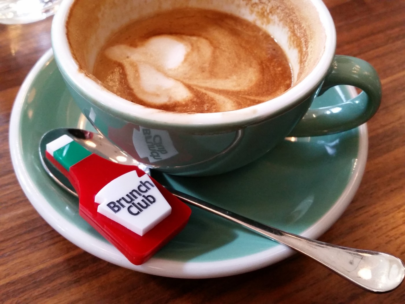 BrunchClub, custom badge and soya latte