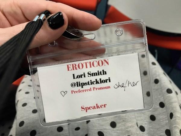 Lori's 2018 Eroticon badge