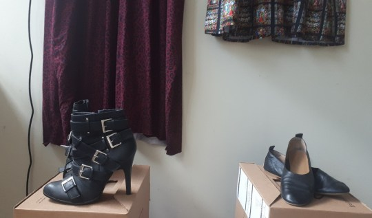 Two of Alanna's pairs of shoes