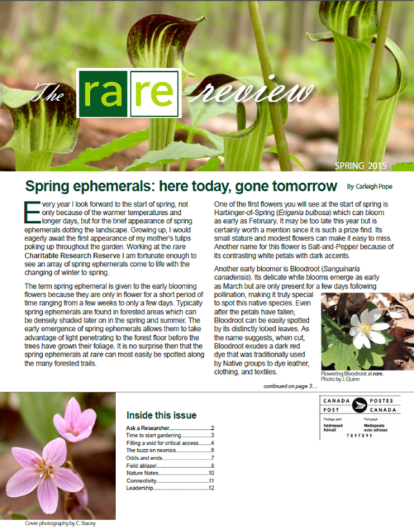 Sping 2015 Newsletter Front Page