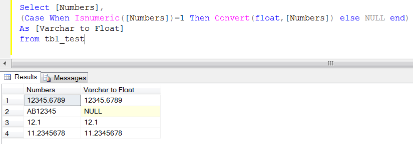 SQL SERVER - How to convert varchar to float (1/2)