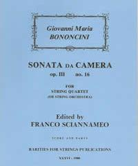 Bononcini, Giovanni Mari - Sonata da Camera Op. III, No. 16 for String Quartet - Cover