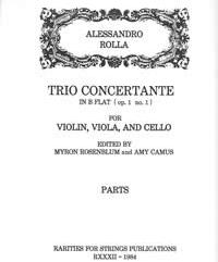 Rolla, Alessandro (Myron Rosenblum)Trio Concertante in B Flat (Op.1, No.1) for Violin, Viola & Cello