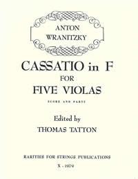Wranitzky, Anton (Tatton)Cassatio in F for Five Violas(Score and Parts)