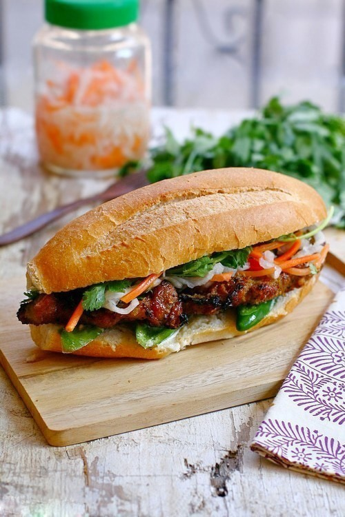 Banh Mi is Vietnamese baguette with grilled meat. Easy banh mi recipe with grilled lemongrass pork and baguette to make the perfect banh mi at home. | rasamalaysia.com