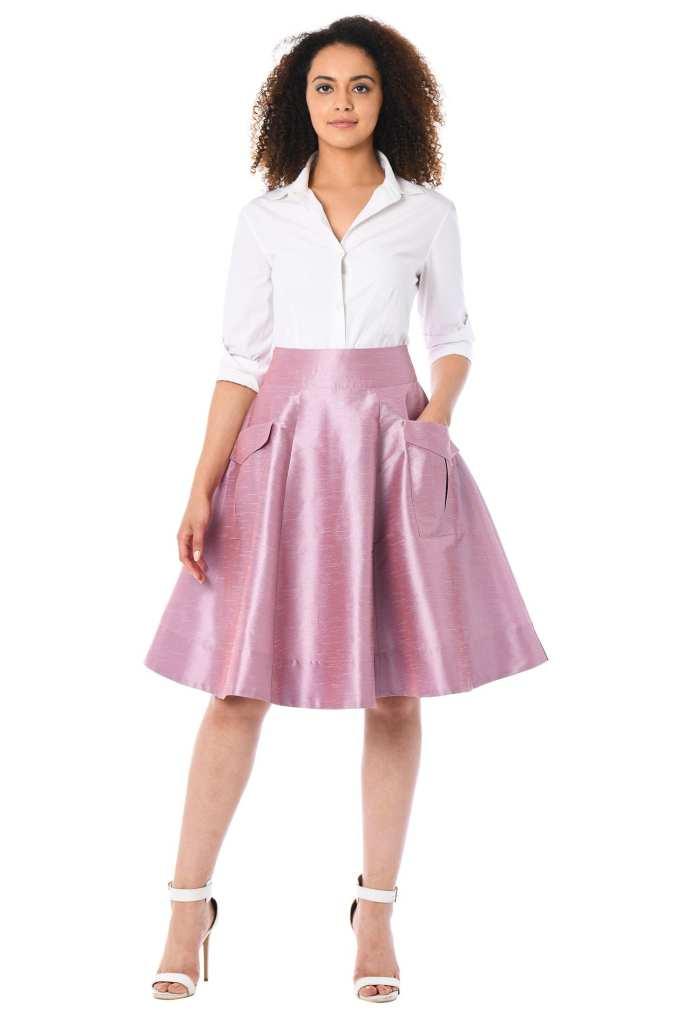eShakti Cargo Pocket Dupioni Skirt