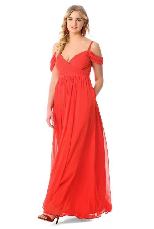 eShakti Sweetheart Neck Chiffon Maxi Dress