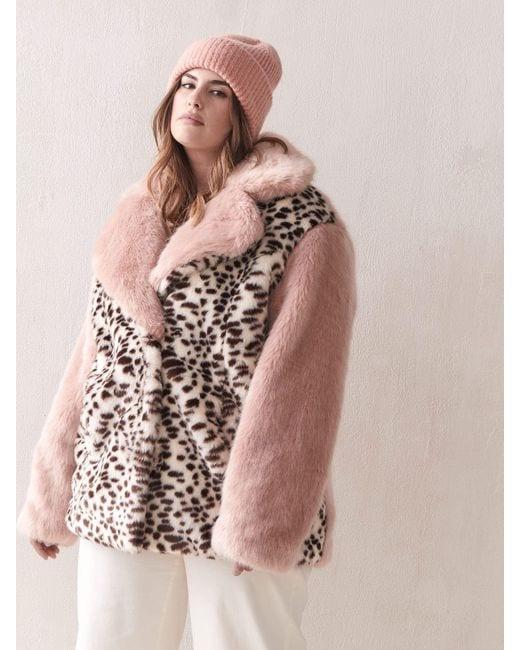 Addition Elle Sarah Cheetah Faux Fur Coat