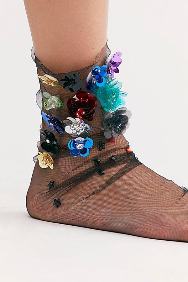 Floral Embellished Tulle Socks