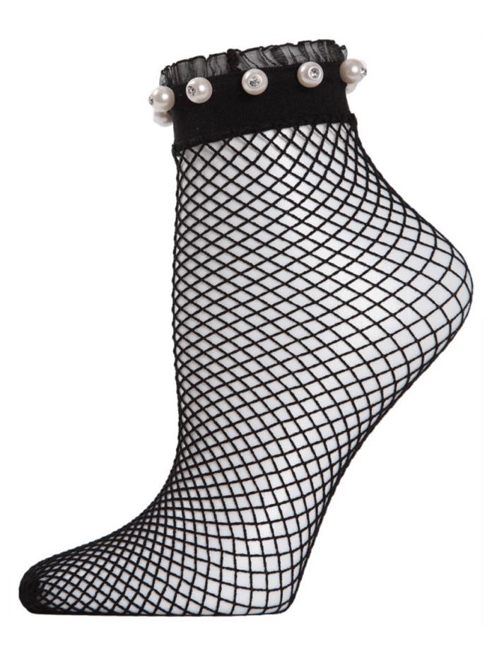 Fishnet Pearl Embellished Socks