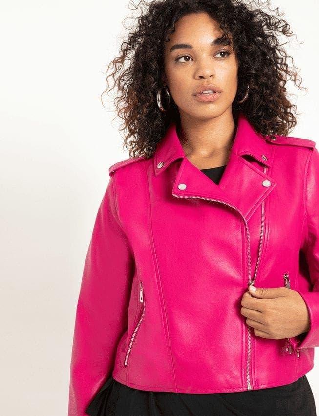 Pink Plus Size Faux Leather Moto Jacket