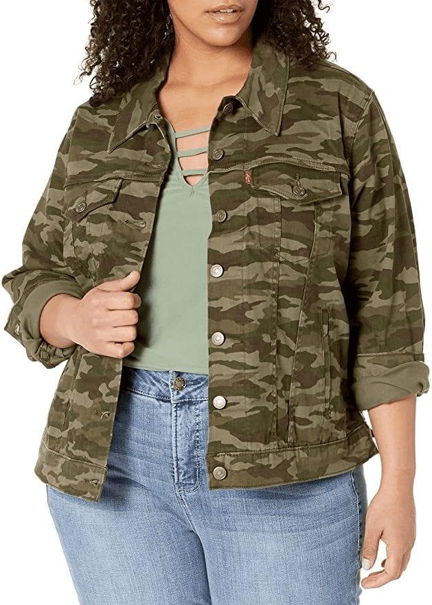 Plus Size Ex-Boyfriend Camo Print Trucker Jacket